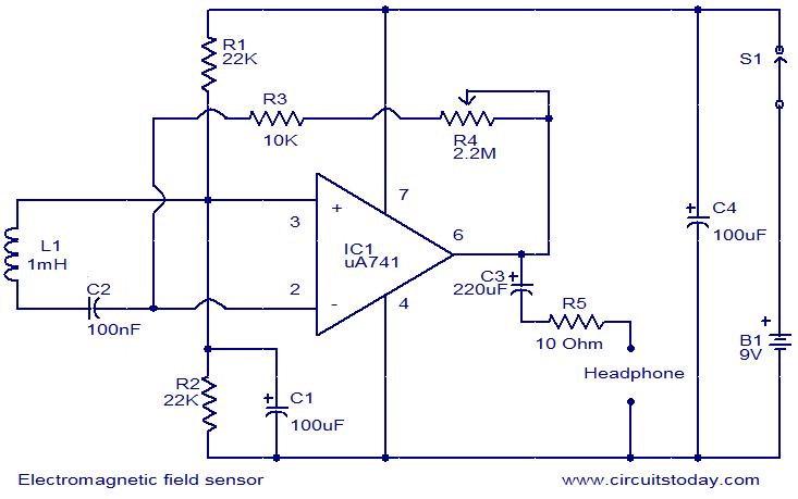 Electromagnetic field sensor circuit - schematic