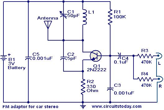 FM adaptor circuit for car stereo - schematic