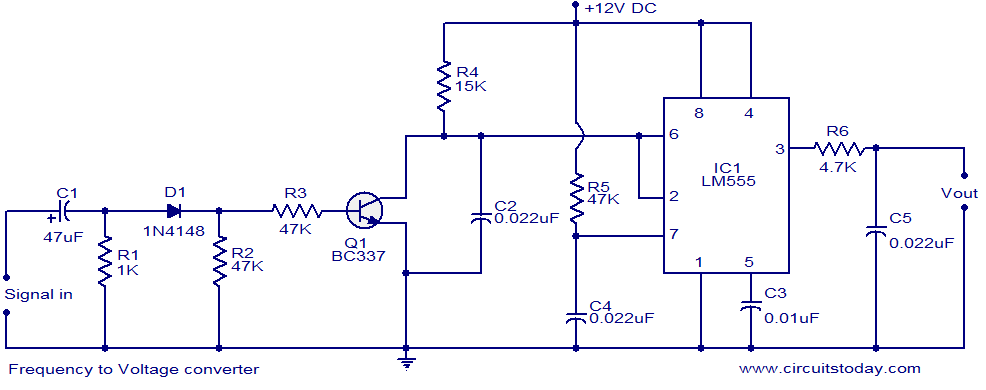 F to V Converter Circuit using LM555 Timer IC - schematic