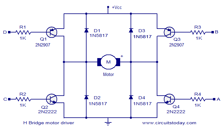 H Bridge Motor Driver Circuits on l293d circuit diagram