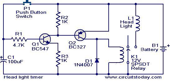 Head light timer circuit - schematic