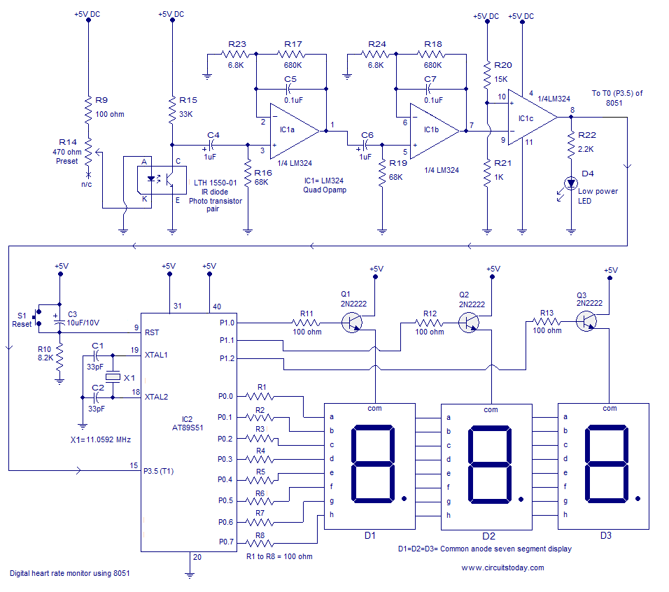 8051 8052 Circuit Page 3 Microcontroller Circuits Reset Heart Rate Monitor Using Measures The From Finger Tip