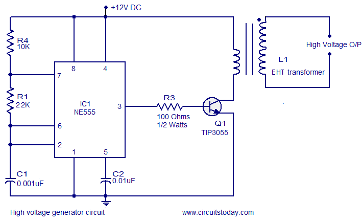 High voltage generator circuit - schematic