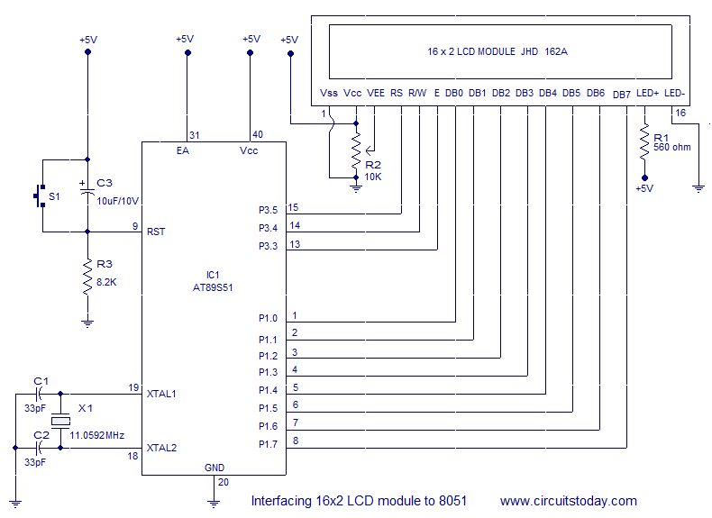 Interfacing 16x2 LCD with 8051 microcontroller. LCD module theory circuit diagram and program in assembly language - schematic