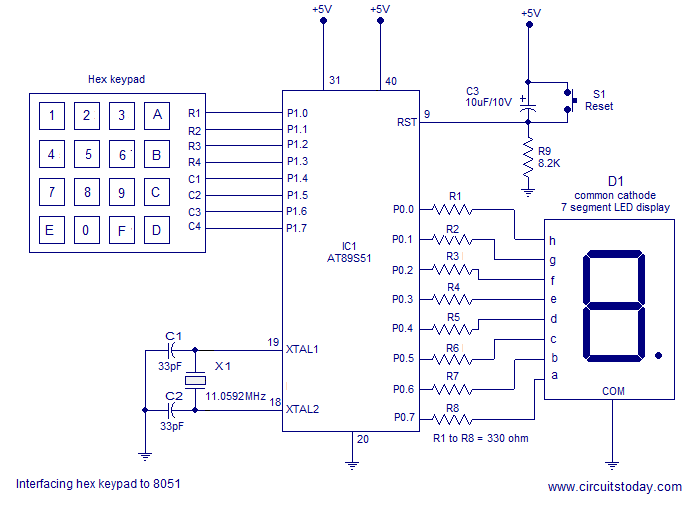Interfacing hex keypad to 8051. Circuit diagram and assembly program. Simple circuit using minimum components - schematic