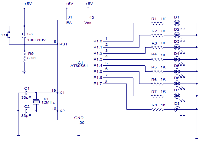 8 channel 6 function light chaser using 8051 - schematic