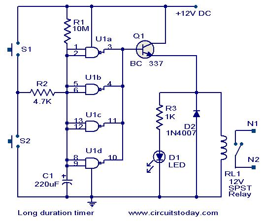 Long duration timer circuit - schematic