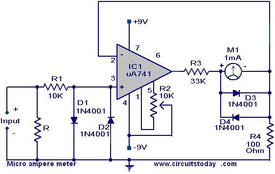 circuits micro ampere meter circuit using ua 741. Black Bedroom Furniture Sets. Home Design Ideas
