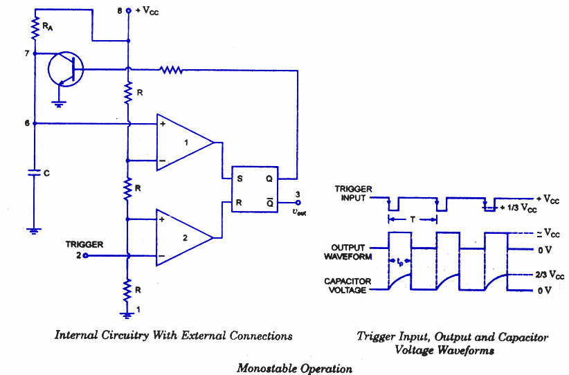 555 Timer as Monostable Multivibrator - schematic