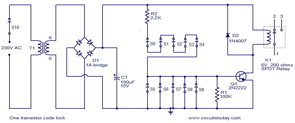 One transistor code lock - schematic