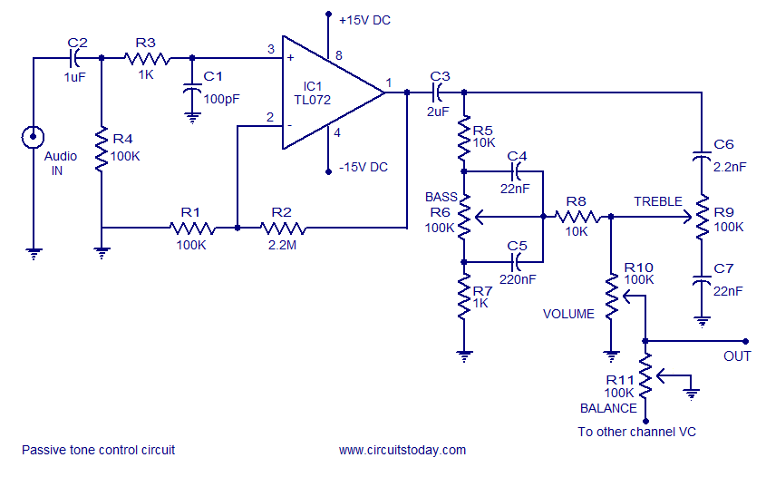 A quality tone control circuit using opamp and few passive components - schematic