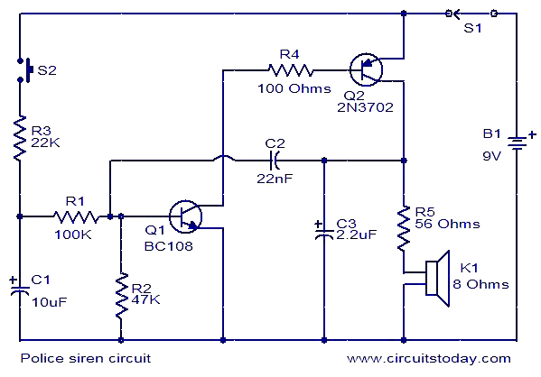 Fabulous Electronic Siren Circuit Electronic Circuits And Diagram Wiring Wiring Digital Resources Antuskbiperorg