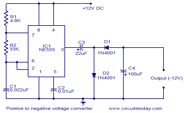 Positive voltage to negative voltage converter - schematic