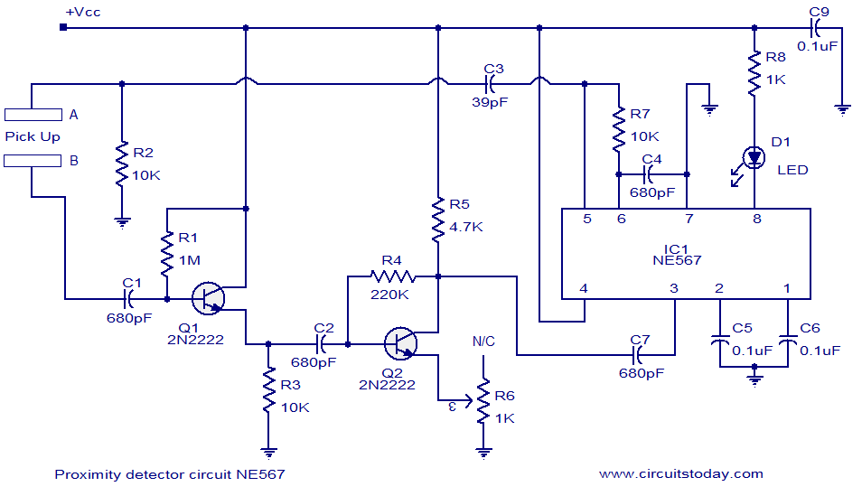 Proximity detector using NE567 IC. Switches LED when object comes near the sensor - schematic