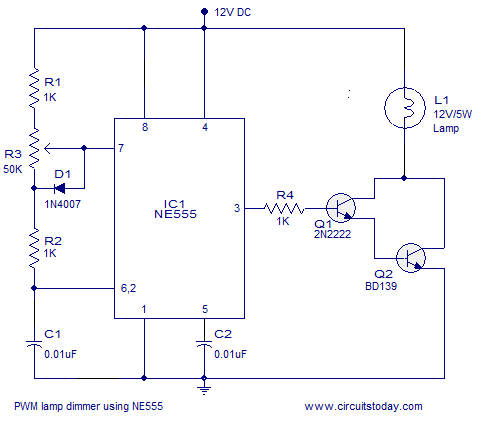 PWM lamp dimmer using NE555 timer IC. Complete circuit diagram and working - schematic