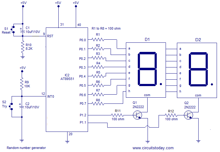 A simple random number generator using 8051 microcontroller. AT89S51 is the controller used here - schematic