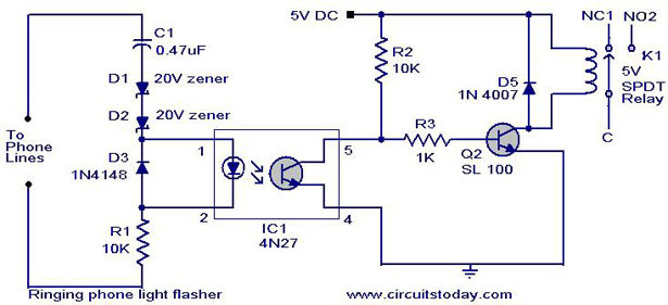 telephone circuit page 6 telephone circuits next gr 110V Light Flasher Circuit Police Lights LED Flasher Circuit