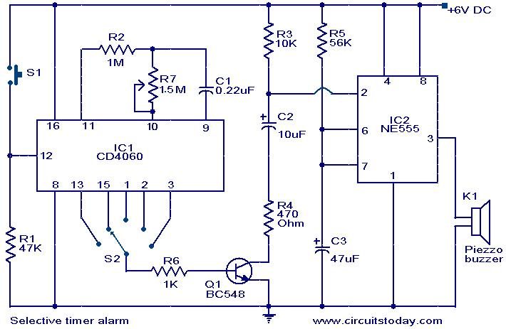 Selective timer alarm - schematic
