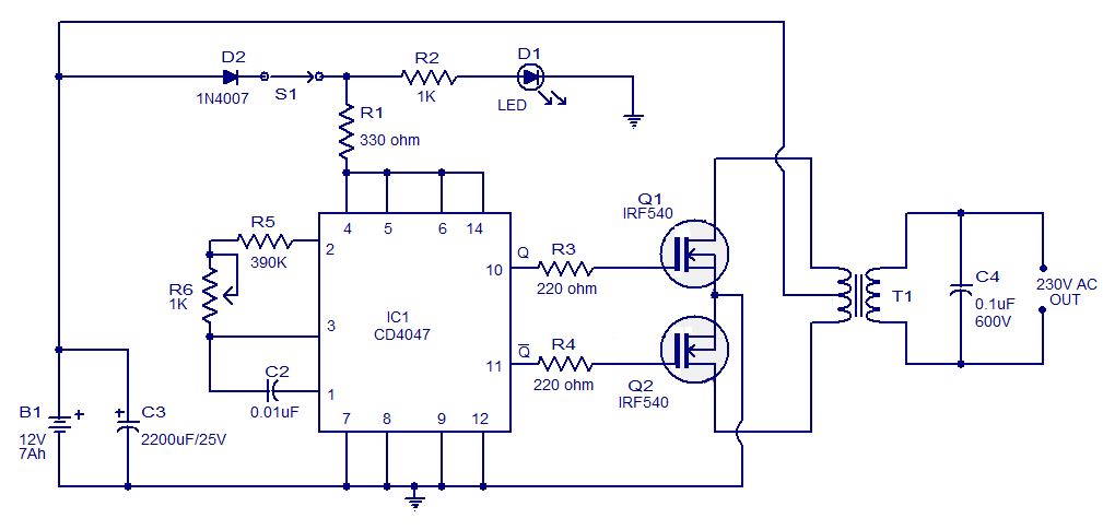 Simple 100w Invertercircuit Based On The Cd4047 Ic Under