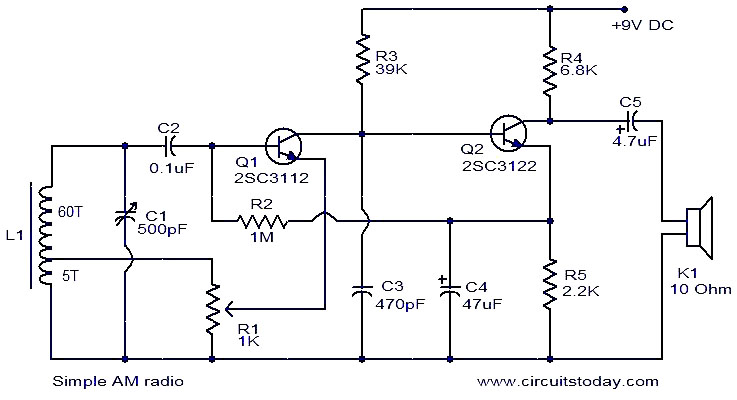 Simple AM radio - schematic