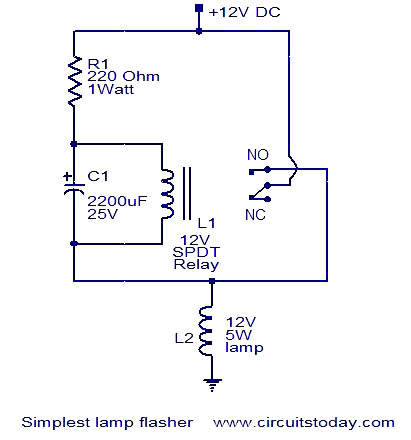 Simplest lamp flasher circuit under Repository-circuits ...