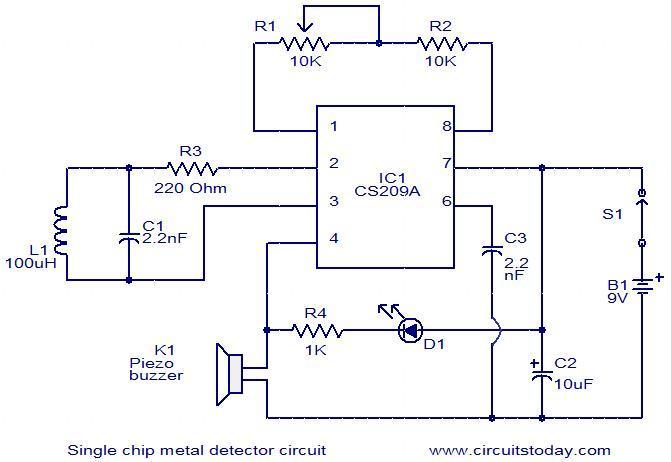 Gt Circuits Gt Single Chip Metal Detector Circuit L37259