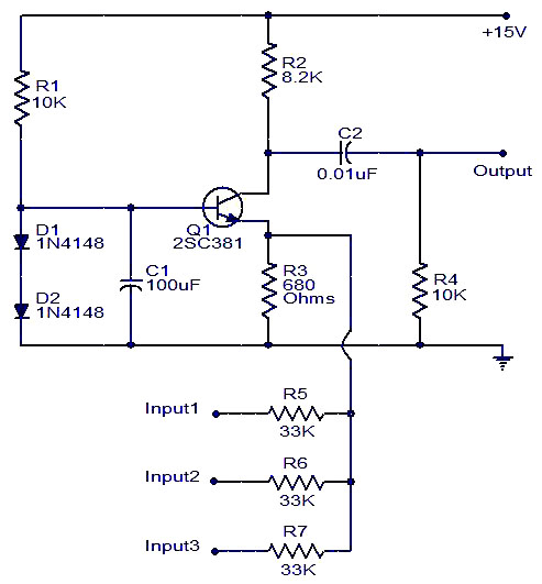 Single transistor audio mixer - schematic
