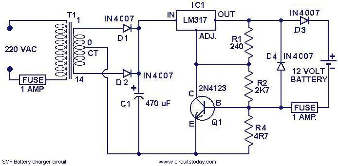 Chager circuit for SMF batteries