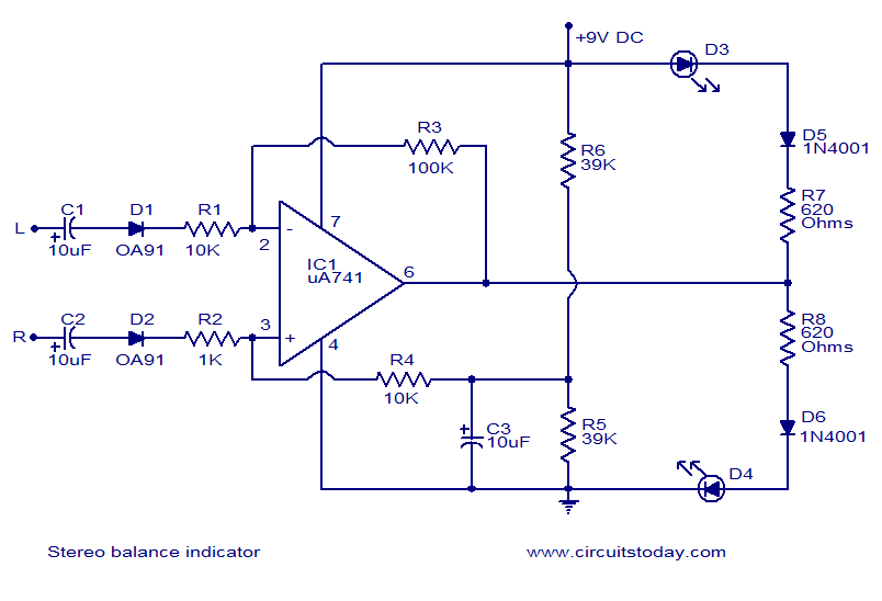 Stereo balance indicator - schematic