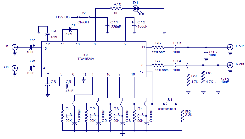 Stereo preamplifier with tone control - schematic