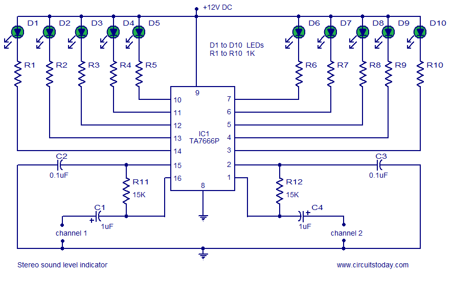 Stereo VU meter - 2 channel audio level meter - schematic