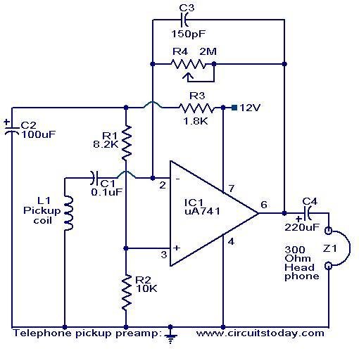 Telephone pickup preampliifer - schematic