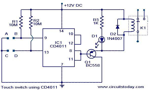 Touch switch using CD4011 - schematic