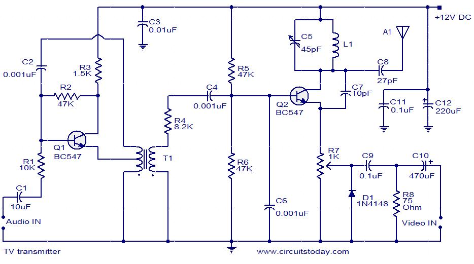TV transmitter circuit using only 2 transistors  operates from 12V - schematic
