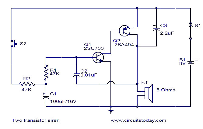 Two transistor siren - schematic
