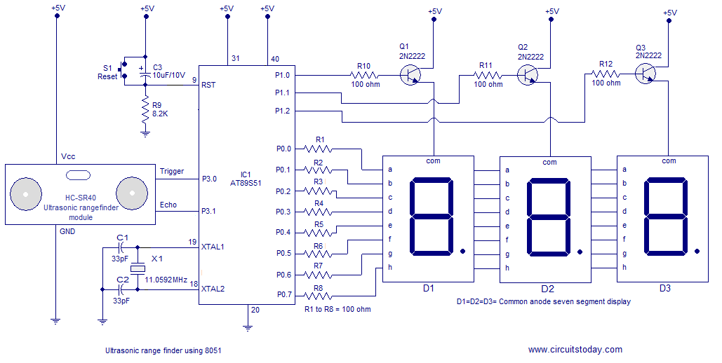 Ultrasonic range finder using 8051 - schematic