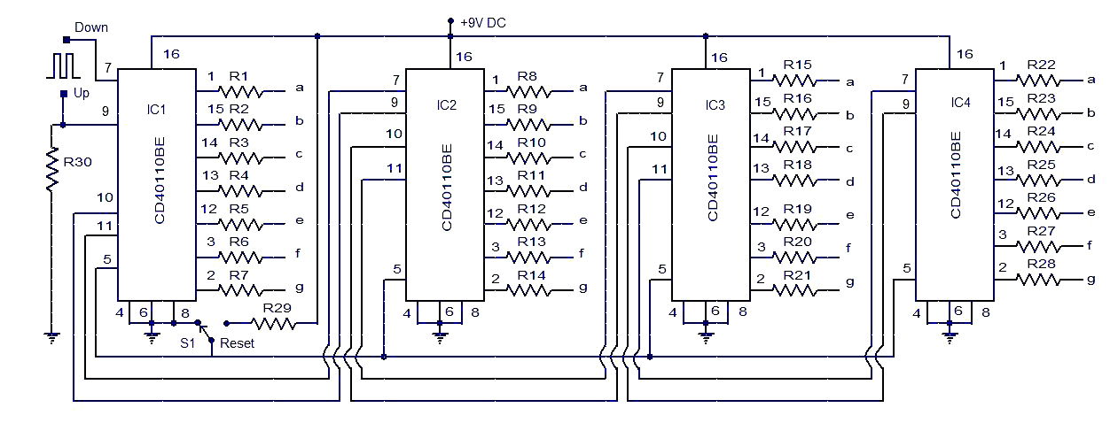 up down counter circuit - schematic