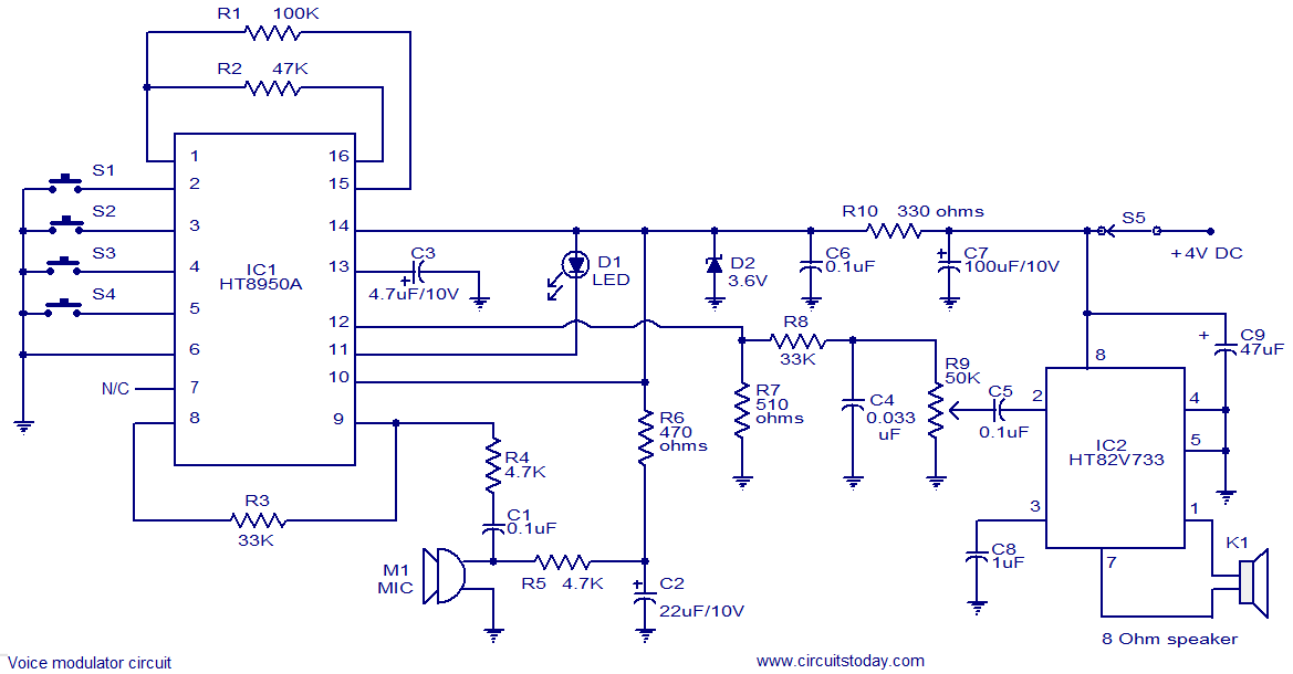 Voice modulator circuit