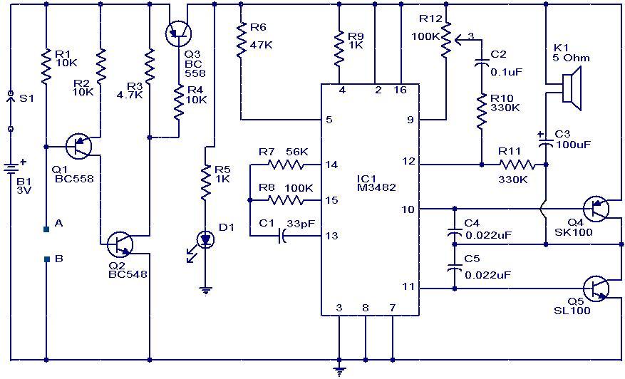 Liquid or Water Sensor Circuit with Alarm - schematic