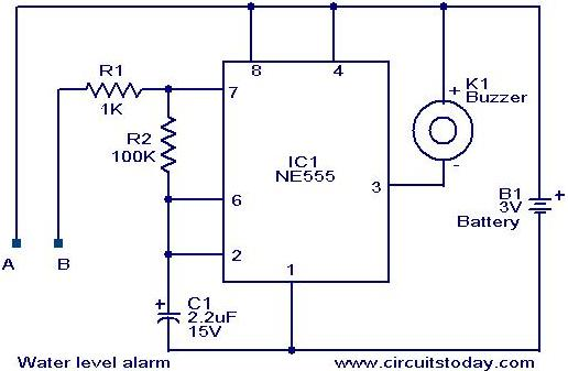 Water level alarm circuit using 555 timer - schematic
