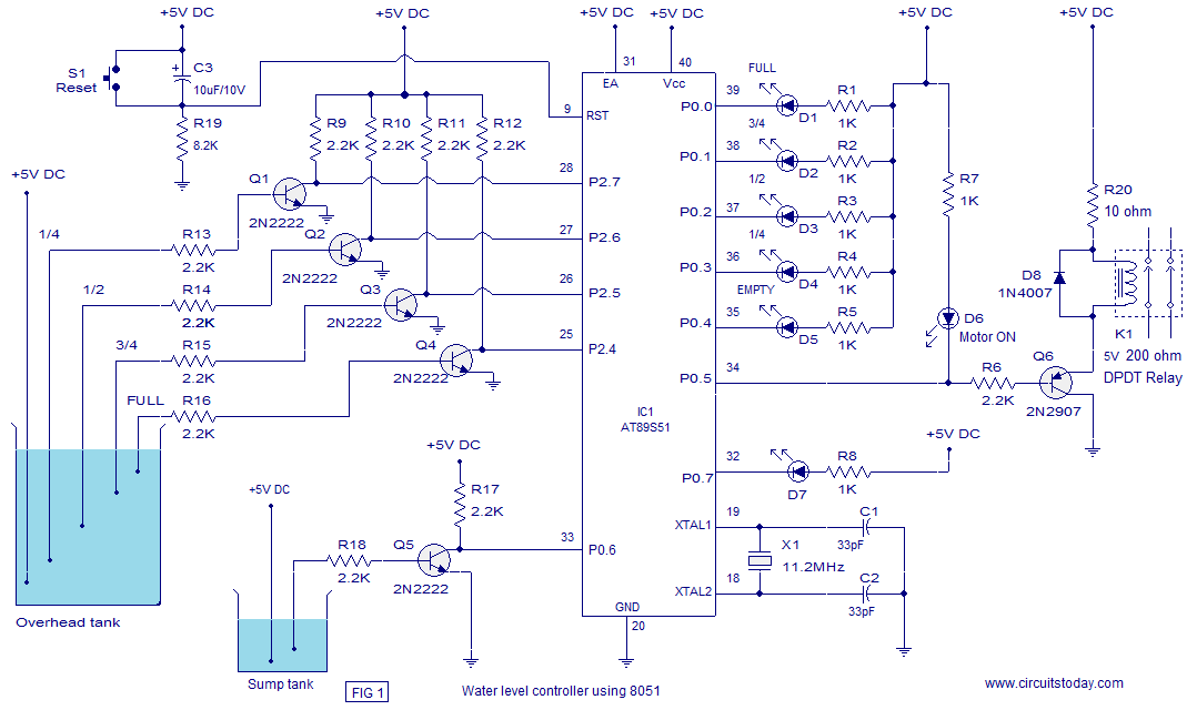 Water level controller using 8051 - schematic