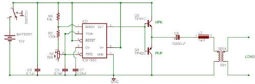 DC to AC Inverter using 555 Timer