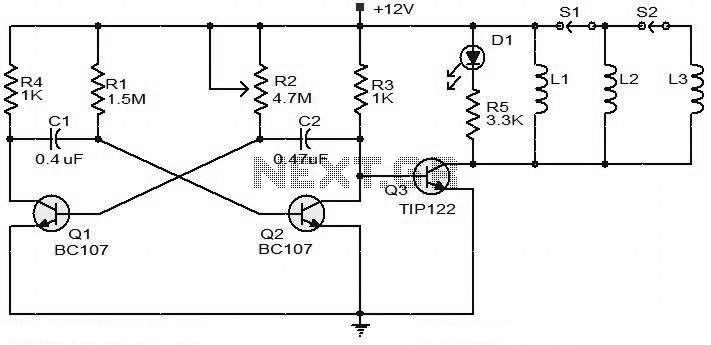 BC107 Transistor For 12V Battery Operated Heater Circuit - schematic
