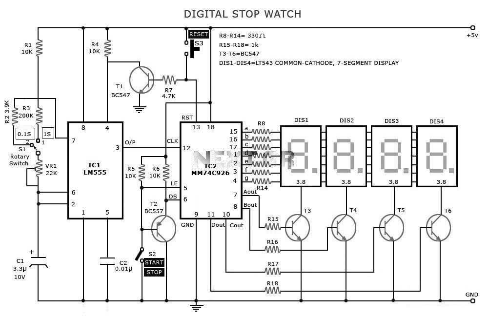Digital Stopwatch Timer Circuit