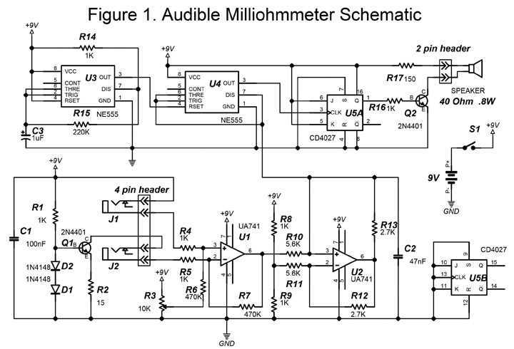 Audible Milliohmmeter with 555 - schematic