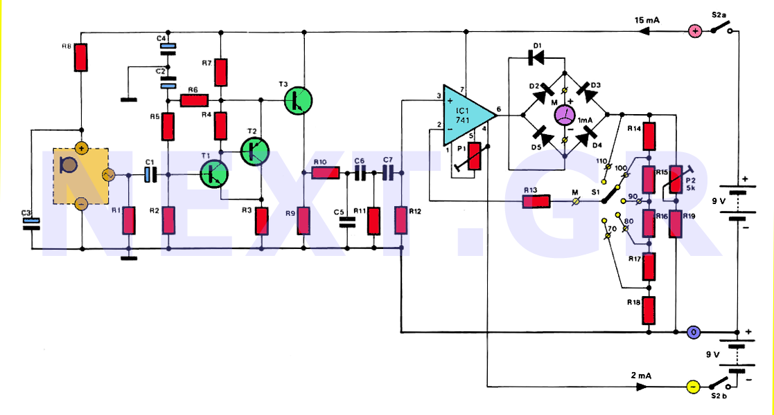 Analogue Sound Preasure dB-Meter Circuit - schematic