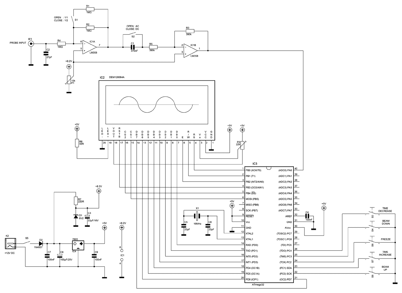 AVR LCD Microcontrolled Oscilloscope - schematic