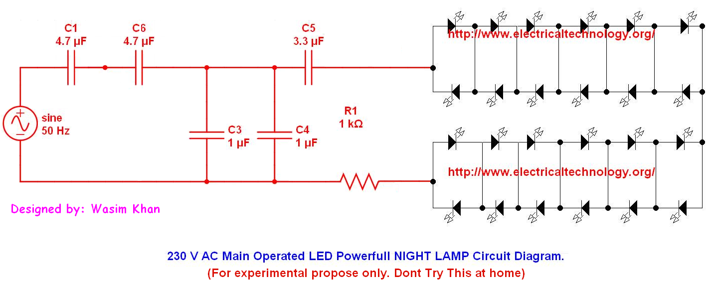 Led Ac Circuit Diagrams More Information Modni Auto Design 230 V Main Operated