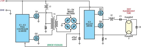 12V Flourescent Lamp Inverter - schematic
