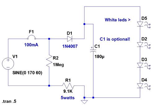 120 volt 4 led light circuit schematic diagram